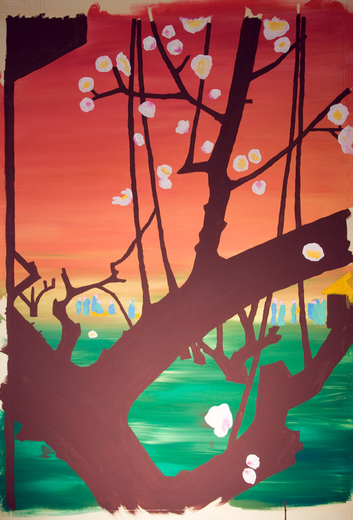 Plum Orchard in Kameido after Hiroshige -work in progress2-