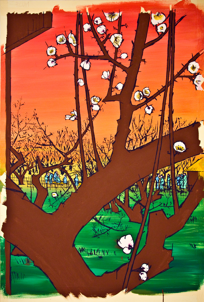 Plum Orchard in Kameido after Hiroshige -work in progress3-