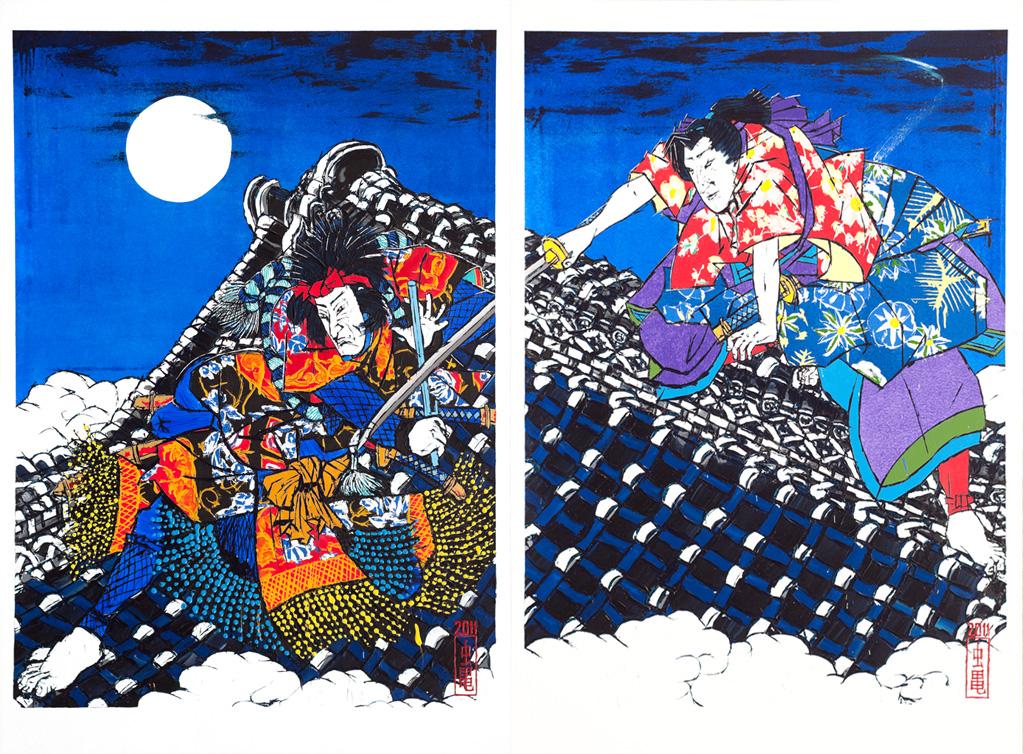 Nanso Satomi Hakkenden, On the Roof of Horyu-ji after Toyokuni III