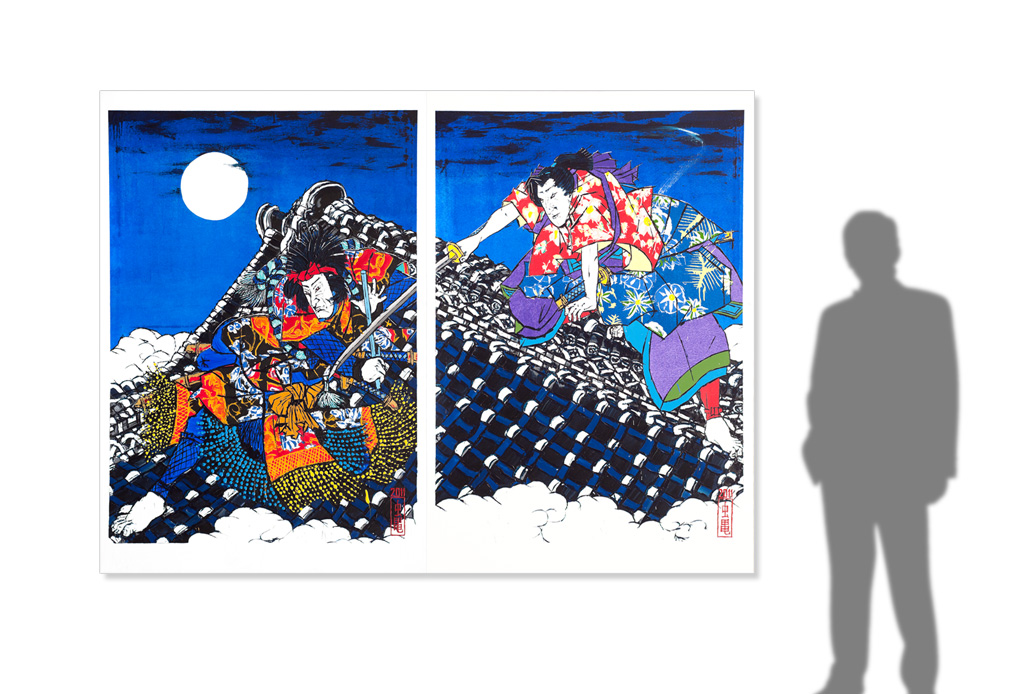 Nanso Satomi Hakkenden, On the Roof of Horyu-ji after Toyokuni III -size reference-