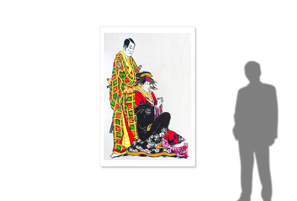 Kabuki play Keisei Sanbon Karakasa after Sharaku -size reference-