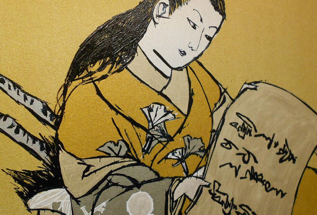 Courtesan as Fei Zhangfang in Silver & Gold after Okumura Masanobu -detail-