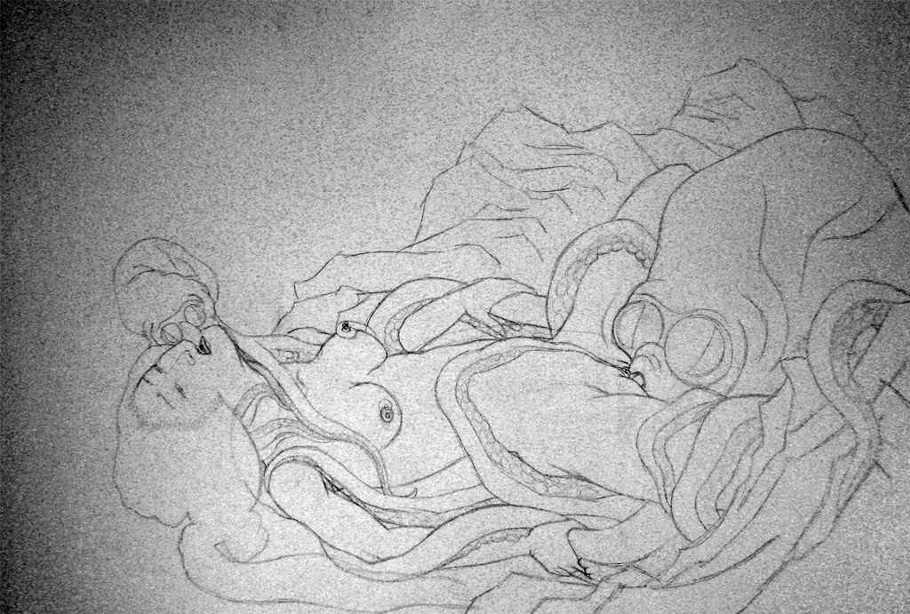 Ama and Octopus after Hokusai -work in progress-