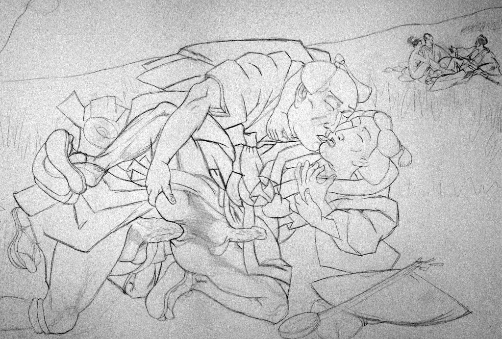 The Luncheon on the Grass/Le Bain after Hiroshige/Manet -work in progress-