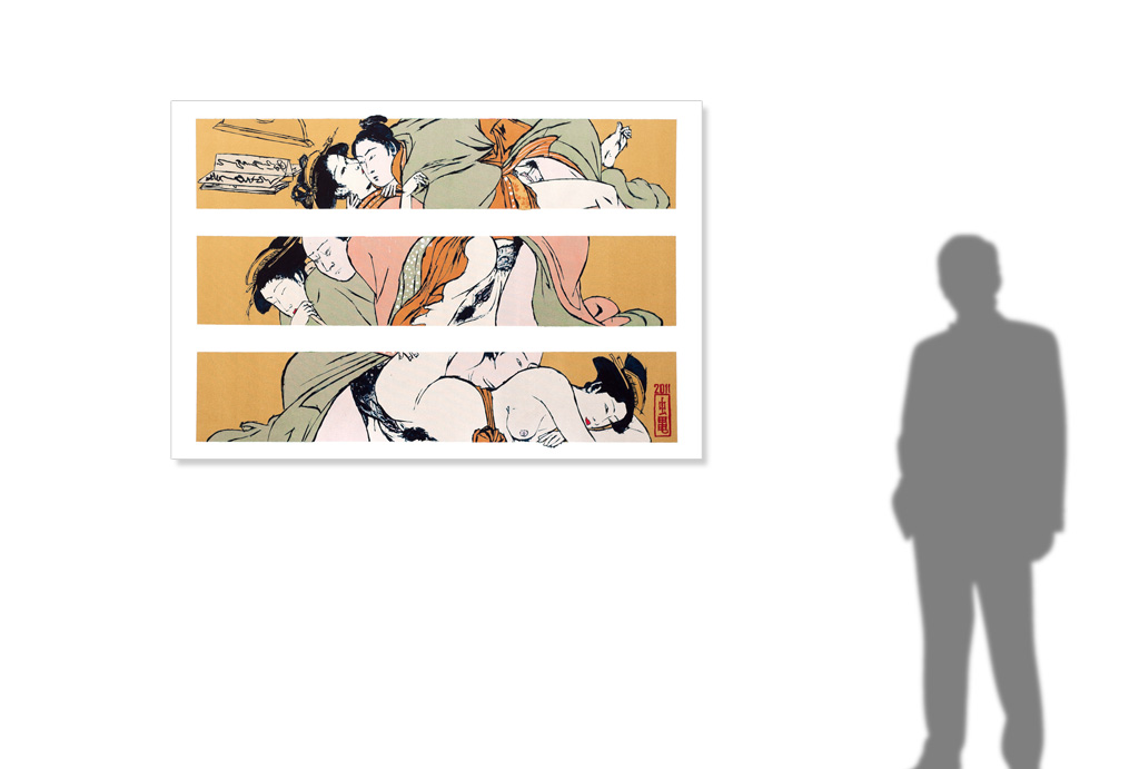 Couple after Torii Kiyonaga -size reference-