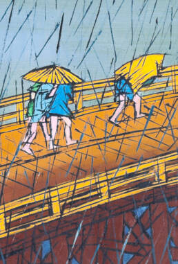 Sudden Shower on Ohashi Bridge near Atake after Hiroshige -detail-