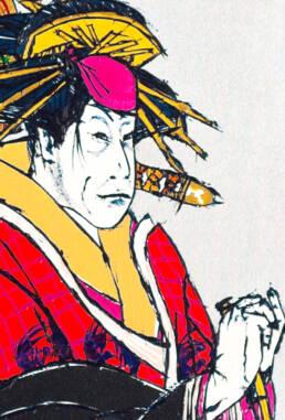 Kabuki play Keisei Sanbon Karakasa after Sharaku -detail-