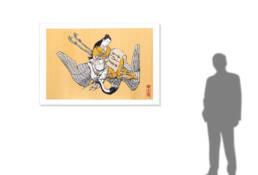 Courtesan as Fei Zhangfang in Silver & Gold after Okumura Masanobu -size reference-
