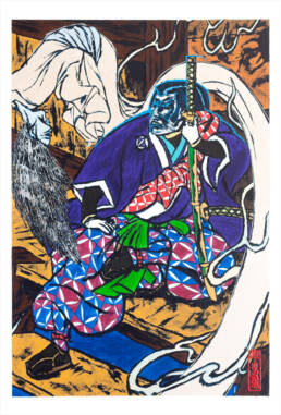 Ghosts Emerging after Yoshitaki (right panel - Mitsukuni)